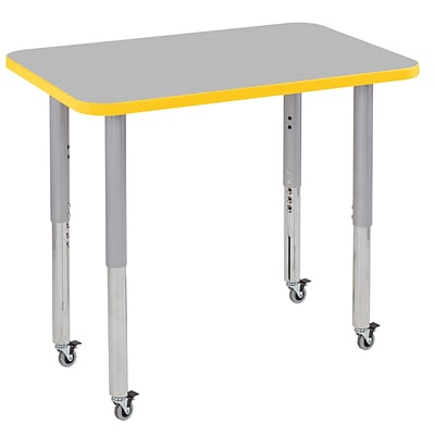 ECR4Kids Thermo-Fused Adjustable Leg 36 x 24 Rectangle Laminate Activity Table Grey/Yellow/Silver (ELR-14206-GYYESVSL)