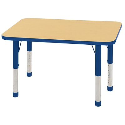 ECR4Kids Thermo-Fused Adjustable 36 x 24 Rectangle Laminate Activity Table Maple/Blue (ELR-14206-MPBLBLCH)