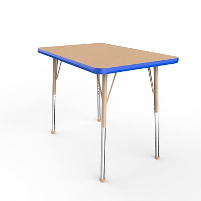 ECR4Kids T-Mold Adjustable Ball 36 x 24 Rectangle Laminate Activity Table Maple/Blue/Sand (ELR-14106-MBLSD-SB)