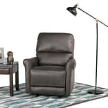 Simpli Home Garrison Faux Leather Recliner in Grey (AXCREC-02-G)