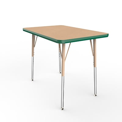 ECR4Kids T-Mold Adjustable Swivel 36 x 24 Rectangle Laminate Activity Table Maple/Green/Sand (ELR-14106-MGNSD-SS)