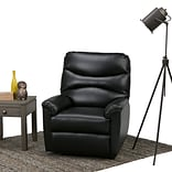 Simpli Home Clancy Gel Leather Recliner in Black (AXCREC-05-BL)