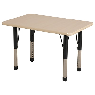 ECR4Kids Thermo-Fused Adjustable 36 x 24 Rectangle Laminate Activity Table Maple/Maple/Black (ELR-14206-MPMPBKCH)