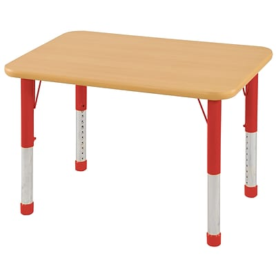 ECR4Kids Thermo-Fused Adjustable 36 x 24 Rectangle Laminate Activity Table Maple/Maple/Red (ELR-14206-MPMPRDCH)