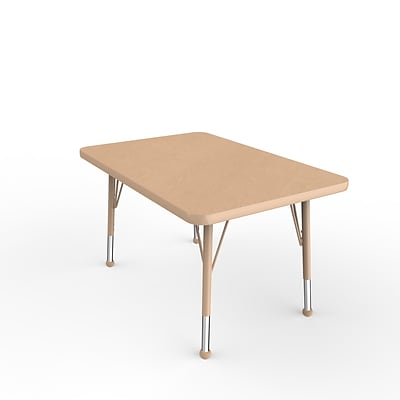 ECR4Kids T-Mold Adjustable Ball 36 x 24 Rectangle Laminate Activity Table Maple/Maple/Sand (ELR-14106-MMSD-TB)