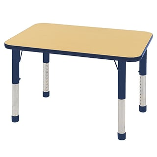 ECR4Kids Thermo-Fused Adjustable 36 x 24 Rectangle Laminate Activity Table Maple/Navy (ELR-14206-M