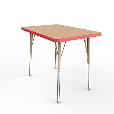 ECR4Kids T-Mold Adjustable Ball 36 x 24 Rectangle Laminate Activity Table Maple/Red/Sand (ELR-14106-MRDSD-SB)