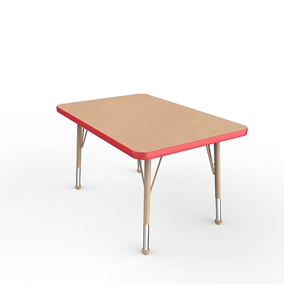 ECR4Kids T-Mold Adjustable Ball 36 x 24 Rectangle Laminate Activity Table Maple/Red/Sand (ELR-14106-MRDSD-TB)