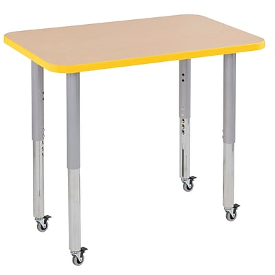 ECR4Kids Thermo-Fused Adjustable Leg 36 x 24 Rectangle Laminate Activity Table Maple/Yellow/Silver (ELR-14206-MPYESVSL)
