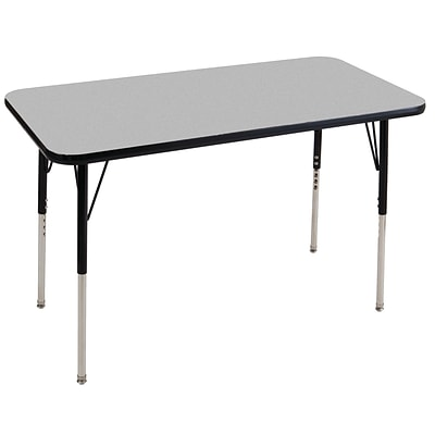 ECR4Kids Thermo-Fused Adjustable Swivel 48 x 24 Rectangle Laminate Activity Table Grey/Black (ELR-14207-GYBKBKSS)