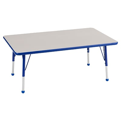 ECR4Kids Thermo-Fused Adjustable Ball 48 x 24 Rectangle Laminate Activity Table Grey/Blue (ELR-14207-GYBLBLTB)