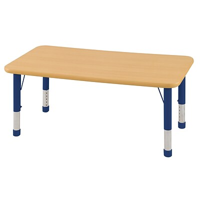 ECR4Kids Thermo-Fused Adjustable 48 x 24 Rectangle Laminate Activity Table Maple/Maple/Blue (ELR-14207-MPMPBLCH)