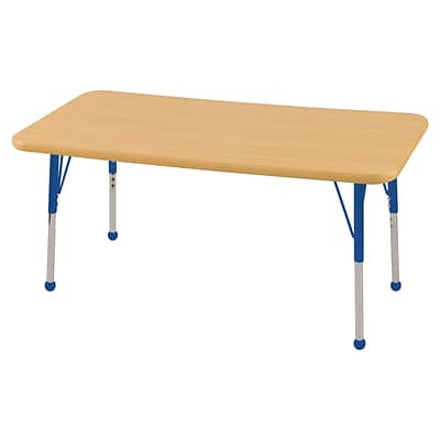 ECR4Kids Thermo-Fused Adjustable Ball 48 x 24 Rectangle Laminate Activity Table Maple/Maple/Blue (ELR-14207-MPMPBLSB)