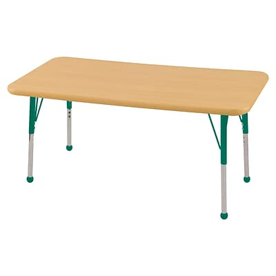 ECR4Kids Thermo-Fused Adjustable Ball 48 x 24 Rectangle Laminate Activity Table Maple/Maple/Green (ELR-14207-MPMPGNSB)
