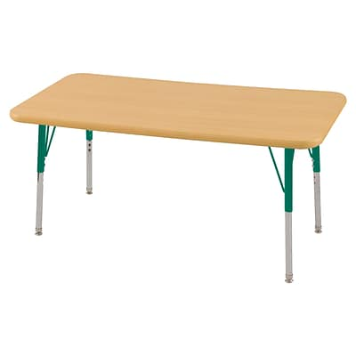 ECR4Kids Thermo-Fused Adjustable Swivel 48 x 24 Rectangle Laminate Activity Table Maple/Maple/Green (ELR-14207-MPMPGNSS)