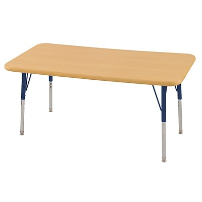 ECR4Kids Thermo-Fused Adjustable Swivel 48 x 24 Rectangle Laminate Activity Table Maple/Maple/Navy (ELR-14207-MPMPNVSS)