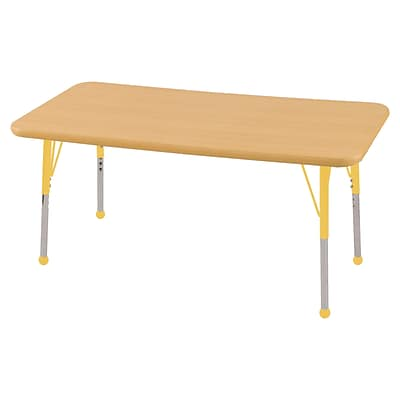 ECR4Kids Thermo-Fused Adjustable Ball 48 x 24 Rectangle Laminate Activity Table Maple/Maple/Yellow (ELR-14207-MPMPYETB)