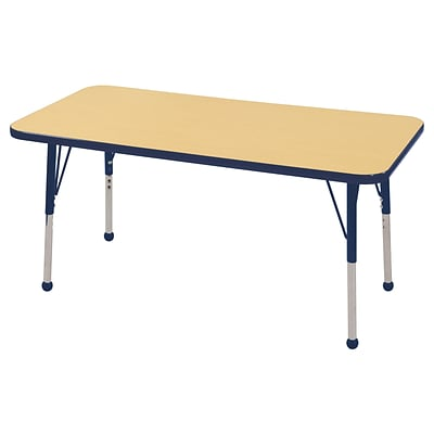 ECR4Kids Thermo-Fused Adjustable Ball 48 x 24 Rectangle Laminate Activity Table Maple/Navy (ELR-14207-MPNVNVSB)
