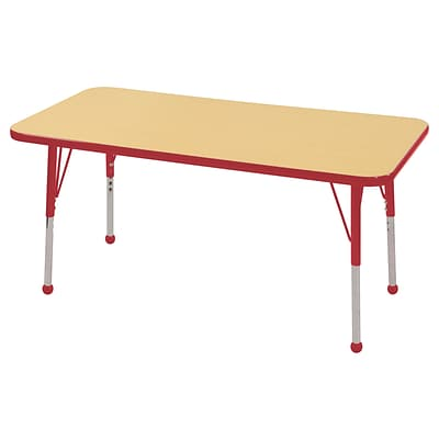 ECR4Kids Thermo-Fused Adjustable Ball 48 x 24 Rectangle Laminate Activity Table Maple/Red (ELR-14207-MPRDRDSB)