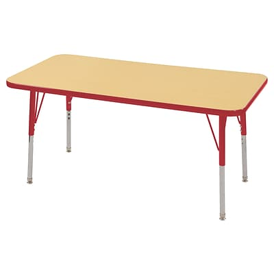 ECR4Kids Thermo-Fused Adjustable Swivel 48 x 24 Rectangle Laminate Activity Table Maple/Red (ELR-14207-MPRDRDSS)