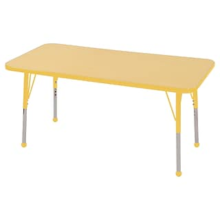 ECR4Kids Thermo-Fused Adjustable Ball 48 x 24 Rectangle Laminate Activity Table Maple/Yellow (ELR-