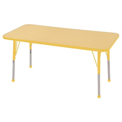 ECR4Kids Thermo-Fused Adjustable Ball 48 x 24 Rectangle Laminate Activity Table Maple/Yellow (ELR-14207-MPYEYETB)