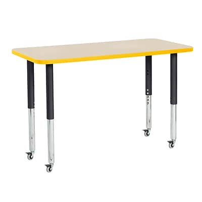 ECR4Kids Thermo-Fused Adjustable Leg 48 x 24 Rectangle Laminate Activity Table Maple/Yellow/Black (ELR-14207-MPYEBKSL)