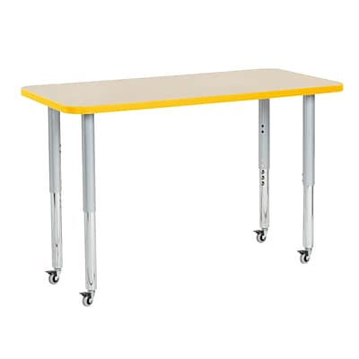 ECR4Kids Thermo-Fused Adjustable Leg 48 x 24 Rectangle Laminate Activity Table Maple/Yellow/Silver (ELR-14207-MPYESVSL)