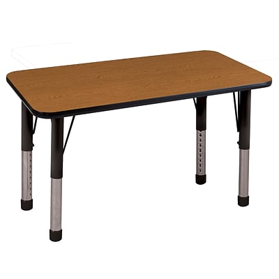 ECR4Kids Thermo-Fused Adjustable 48 x 24 Rectangle Laminate Activity Table Oak/Black (ELR-14207-OKBKBKCH)