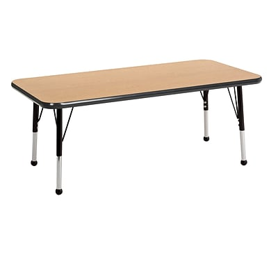 ECR4Kids Thermo-Fused Adjustable Ball 48 x 24 Rectangle Laminate Activity Table Oak/Black (ELR-14207-OKBKBKSB)