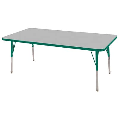 ECR4Kids Thermo-Fused Adjustable Swivel 60 x 24 Rectangle Laminate Activity Table Grey/Green (ELR-14208-GYGNGNSS)