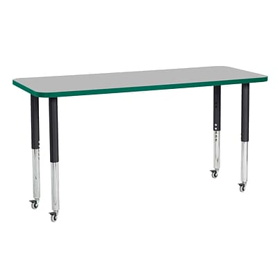 ECR4Kids Thermo-Fused Adjustable Leg 60 x 24 Rectangle Laminate Activity Table Grey/Green/Black (ELR-14208-GYGNBKSL)