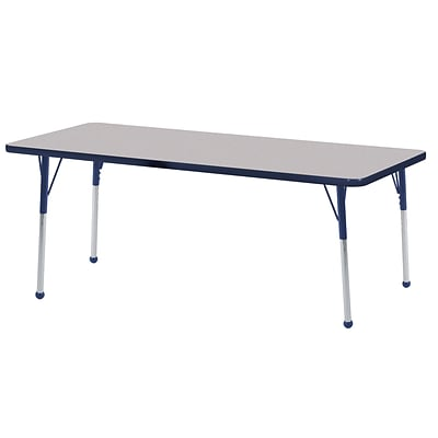 ECR4Kids Thermo-Fused Adjustable Ball 60 x 24 Rectangle Laminate Activity Table Grey/Navy (ELR-14208-GYNVNVTB)