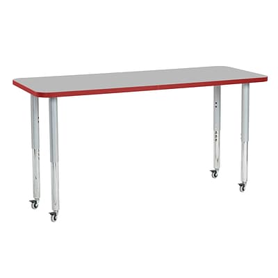 ECR4Kids T-Mold Adjustable Leg 60 x 24 Rectangle Laminate Activity Table Grey/Red/Silver (ELR-14108-GRDSV-SL)