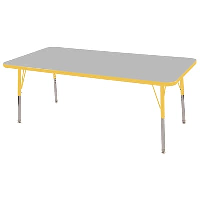 ECR4Kids Thermo-Fused Adjustable Swivel 60x24 Rectangle Laminate Activity Table Grey/Yellow (ELR-14208-GYYEYESS)