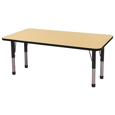 ECR4Kids Thermo-Fused Adjustable 60x24 Rectangle Laminate Activity Table Maple/Black (ELR-14208-MPBKBKCH)