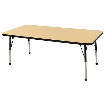 ECR4Kids Thermo-Fused Adjustable Ball 60x24 Rectangle Laminate Activity Table Maple/Black (ELR-14208-MPBKBKTB)