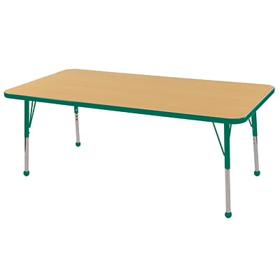 ECR4Kids Thermo-Fused Adjustable Ball 60 x 24 Rectangle Laminate Activity Table Maple/Green (ELR-14208-MPGNGNSB)