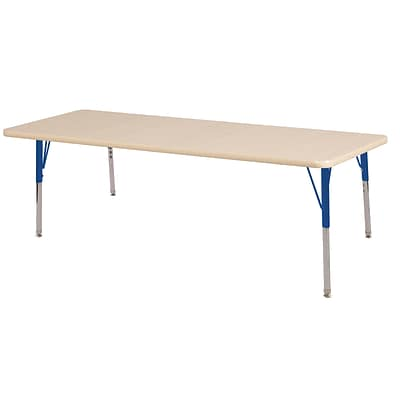 ECR4Kids Thermo-Fused Adjustable Swivel 60 x 24 Rectangle Laminate Activity Table Maple/Maple/Blue (ELR-14208-MPMPBLSS)