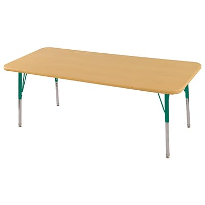 ECR4Kids Thermo-Fused Adjustable Swivel 60 x 24 Rectangle Laminate Activity Table Maple/Maple/Green (ELR-14208-MPMPGNSS)