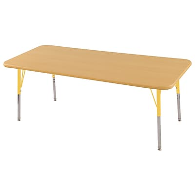 ECR4Kids Thermo-Fused Adjustable Swivel 60 x 24 Rectangle Laminate Activity Table Maple/Maple/Yellow (ELR-14208-MPMPYETS)