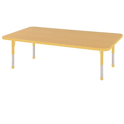 ECR4Kids Thermo-Fused Adjustable 60 x 24 Rectangle Laminate Activity Table Maple/Yellow (ELR-14208-MPYEYECH)