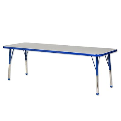 ECR4Kids Thermo-Fused Adjustable Ball 72 x 24 Rectangle Laminate Activity Table Grey/Blue (ELR-14209-GYBLBLTB)