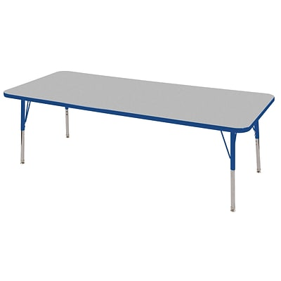 ECR4Kids Thermo-Fused Adjustable Swivel 72 x 24 Rectangle Laminate Activity Table Grey/Blue (ELR-14209-GYBLBLTS)