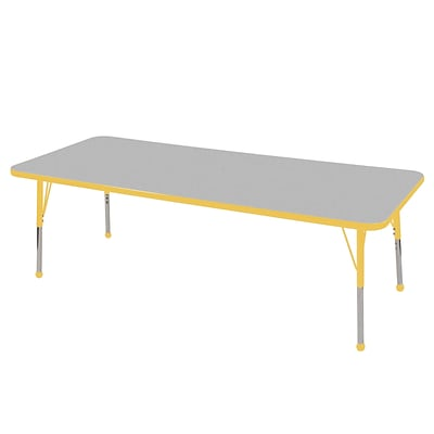 ECR4Kids Thermo-Fused Adjustable Ball 72 x 24 Rectangle Laminate Activity Table Grey/Yellow (ELR-14209-GYYEYETB)