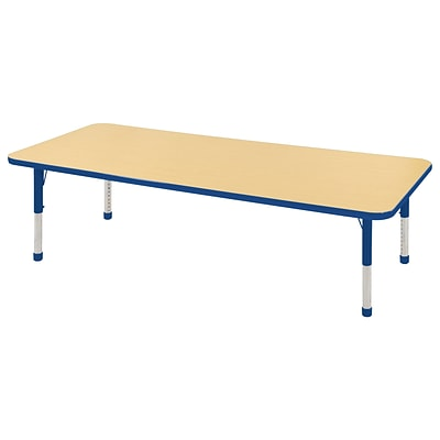 ECR4Kids Thermo-Fused Adjustable 72 x 24 Rectangle Laminate Activity Table Maple/Blue (ELR-14209-MPBLBLCH)