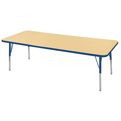 ECR4Kids Thermo-Fused Adjustable Swivel 72 x 24 Rectangle Laminate Activity Table Maple/Blue (ELR-14209-MPBLBLTS)