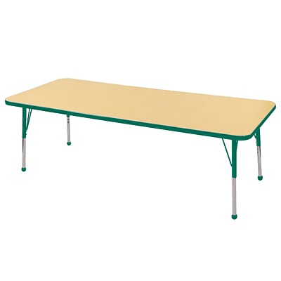 ECR4Kids Thermo-Fused Adjustable Ball 72 x 24 Rectangle Laminate Activity Table Maple/Green (ELR-14209-MPGNGNSB)
