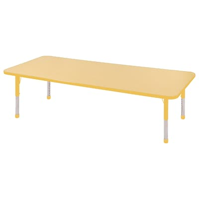 ECR4Kids Thermo-Fused Adjustable 72 x 24 Rectangle Laminate Activity Table Maple/Yellow (ELR-14209-MPYEYECH)