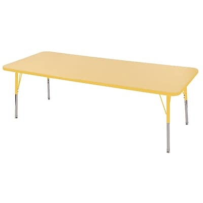 ECR4Kids Thermo-Fused Adjustable Swivel 72 x 24 Rectangle Laminate Activity Table Maple/Yellow (ELR-14209-MPYEYETS)